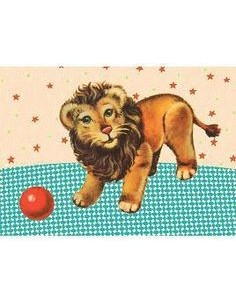 Postcard Lion with Ball