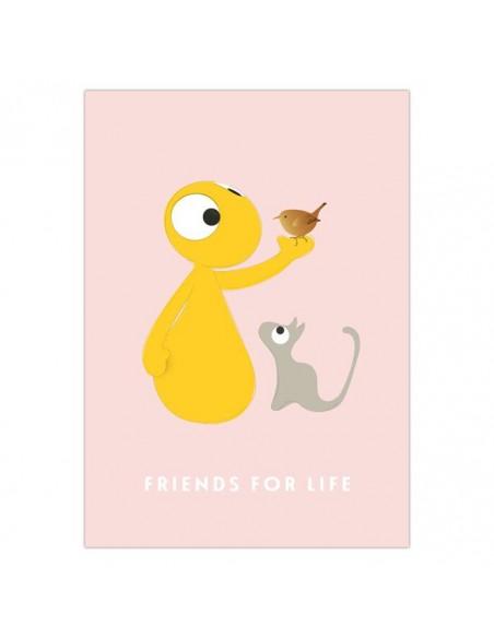 Postkaart Friends For Life - Olli&Jeujeu