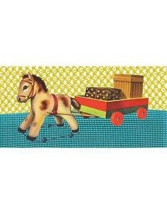 Postcard Toy Horse with Presents