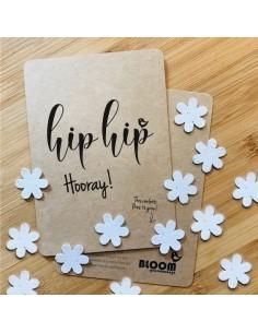 Wenskaart Flowers Confetti Hip Hip Hooray - Bloom