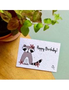 Wenskaart Flowers Raccoon Happy Birthday - Bloom